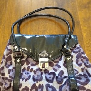 Relic doctors bag purse leopard black patent